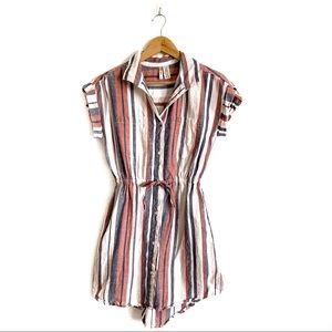 Japna Striped Cuff Sleeve Button Up Shirt Dress